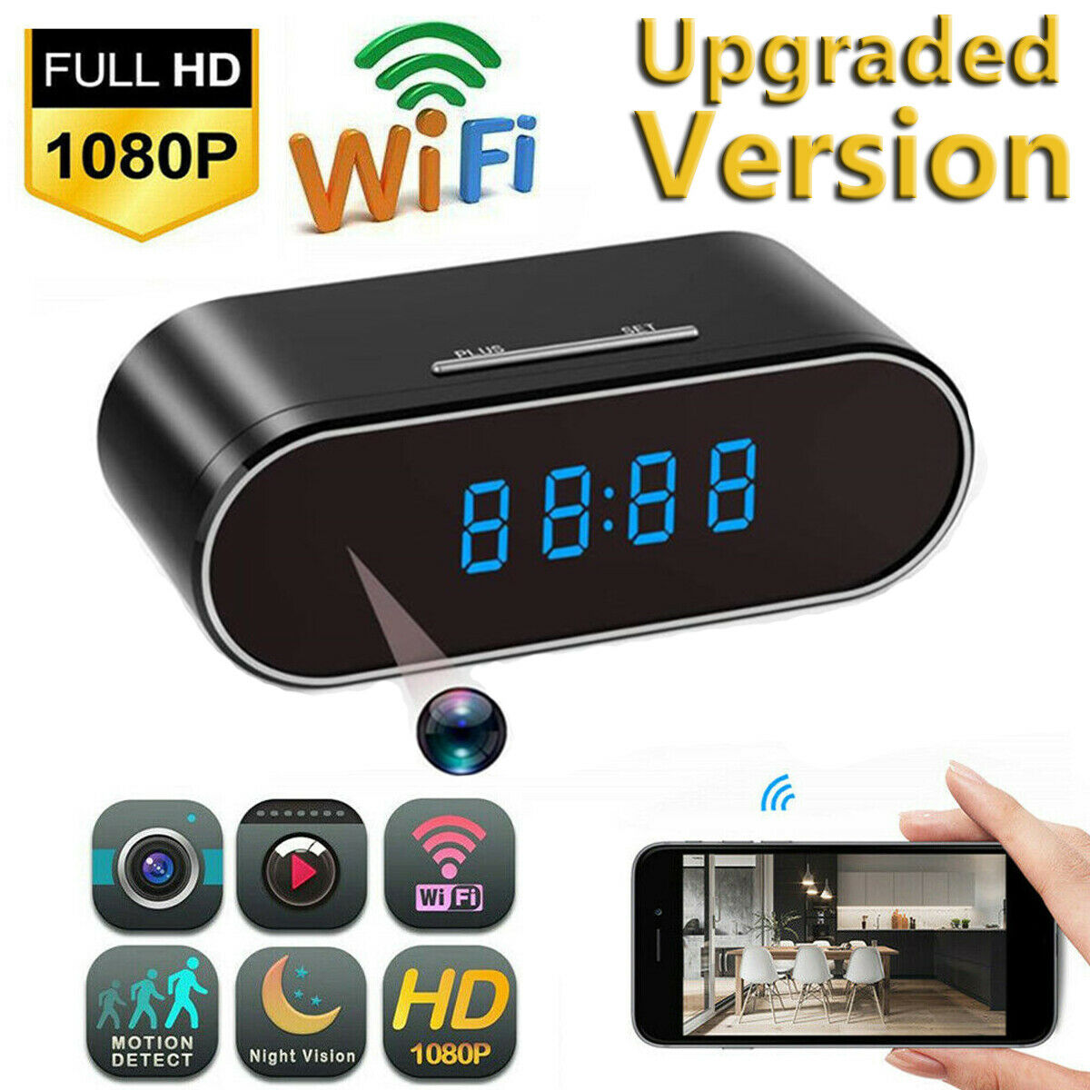 Security Alarm Clock IR Cam Hidden - HD 1080P